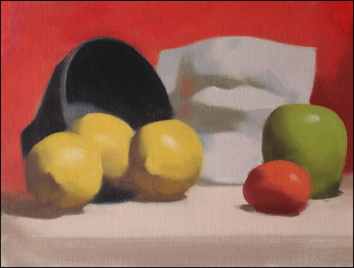 Still Life With Lemons, oil on canvas, 11x14 inches