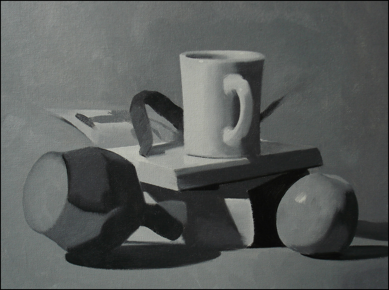 Grisaille Still Life With Mug, 9x12 inches