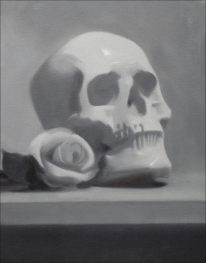 Grisaille Still Life With Rose, oil on canvas, 11x14 inches